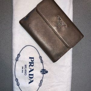 Authentic Prada saffiano leather compact wallet
